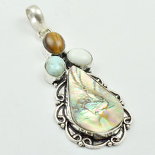 Abalone Shell & Larimar Pendant Silver Overlay over Copper, 67mm , P3570(China)
