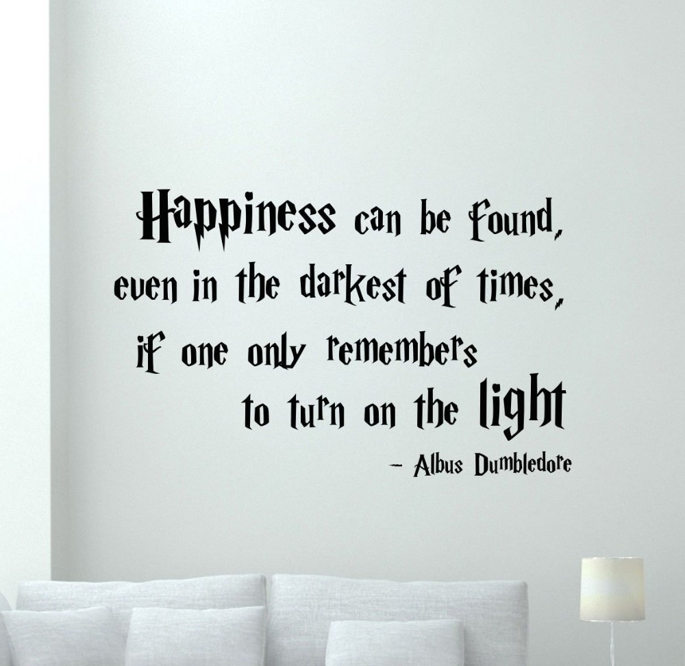 harry potter quotations happiness can be foud vinyl quote. Black Bedroom Furniture Sets. Home Design Ideas