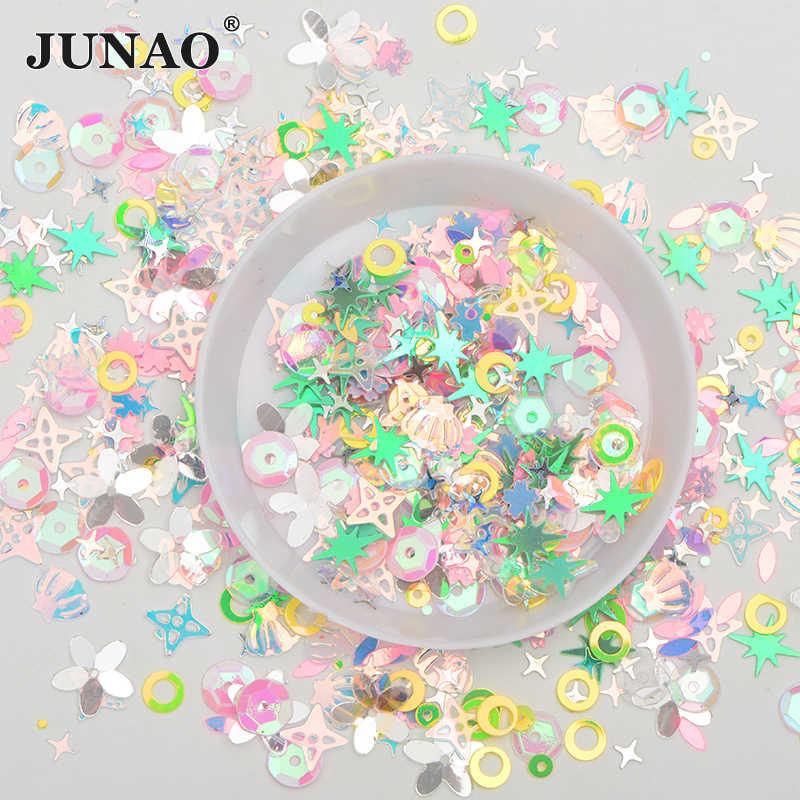 Junao 10G 3 Mm 4 Mm Warna Campuran Glitter Bintang Kecil Kuku Payet Kuku Confetti Dekorasi Longgar Jahit Spangles paillette untuk Kerajinan