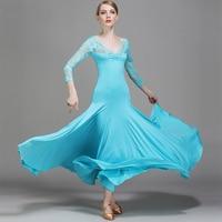 Ballroom Dance Dress Women Lady Competition Dresses Waltz Milk Silk Lace V Collar Long Sleeve Flamenco Ballroom Dancing DN1247
