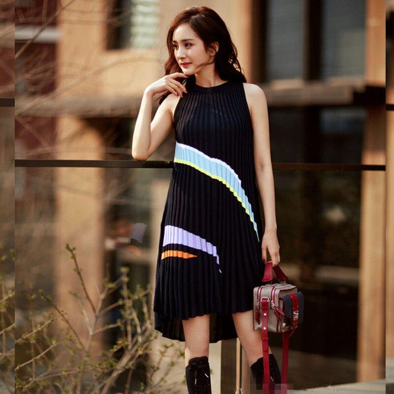 35b2180d90e SRUILEE 2018 New Summer Front Long Back Short Sundress Women Dress Knit  Pleated Tank Dress Sexy Soft Elastic Runway Vestidos-in Dresses from  Women s ...