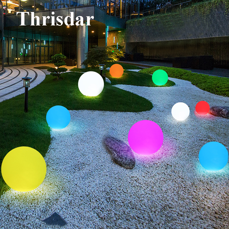 Thrisdar 16 Color IP68 Globe Ball Garden Landscape Lawn Pathway Deck Light Remote Control LED Swimming Pool Floating Ball Light