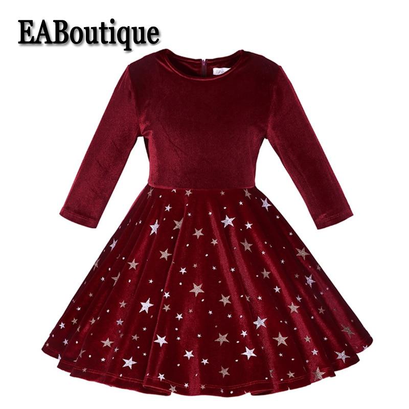 EABoutique Winter Fashion Shinning Star Ball Gown Girls Dress Long Sleeve Kids velvet Party Dress batwing sleeve pocket side curved hem textured dress
