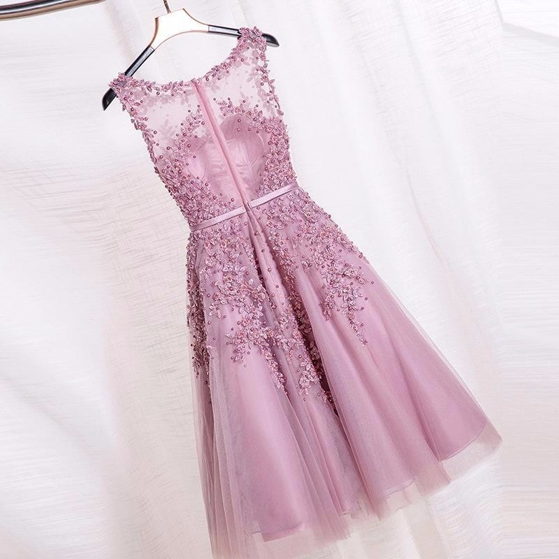 2016-Dust-Pink-Beaded-Lace-Appliques-Short-Prom-Dresses-Robe-De-Soiree-Knee-Length-Party-Evening (1)