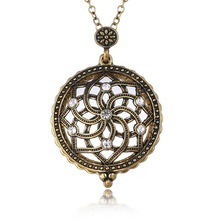 Gold Plated Hollow Crystal Flower Necklaces & Pendant Antique Magnifying Glass Necklaces With Link Chain Fashion Women Jewelry