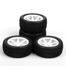 4pcs/set 1/10 RC Car Tires Front & Rear Tyre Wheel Rim For RC 1:10 Off-Road Buggy Car Toys Parts Accessories 4pcs 1 8 rc off road buggy snow sand paddle tires tyre and wheels for 1 8 rc car
