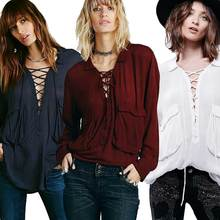 Women Blouses Long Sleeve Blouse Cotton Pockets Lace Up Front Autumn Vintage Ladies Office Shirts Hippie Chic Boho Clothing