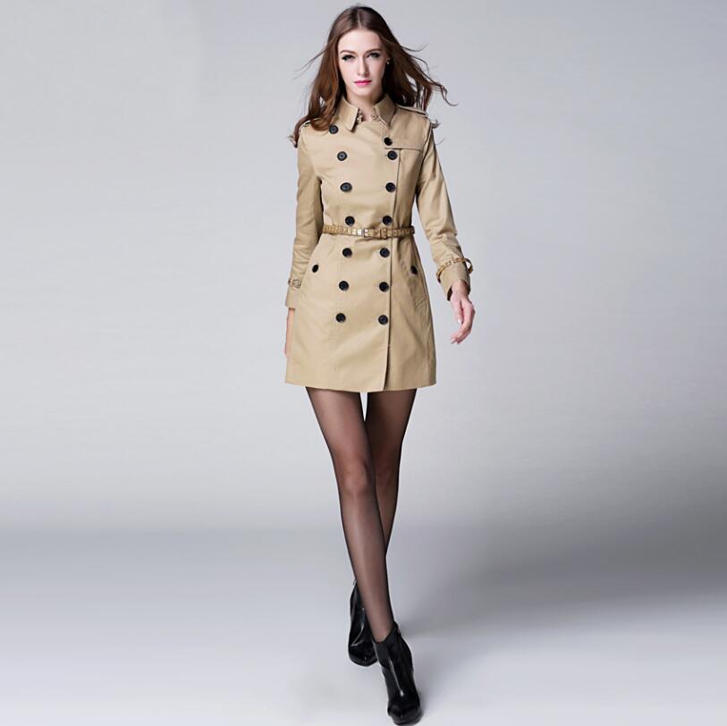 2018 High Quality Autumn Winter Khaki Women Long   Trench   Coat Big Size Elegant Female Overcoat British Style Slim Coat Outerwear