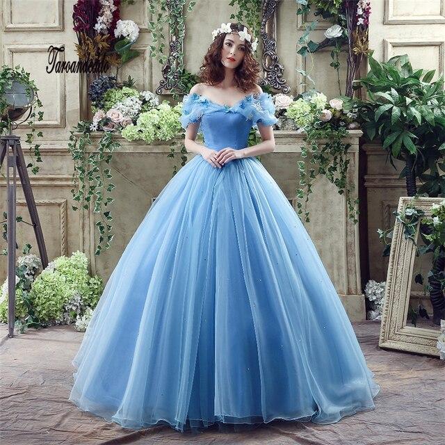 b6df2285bb41a في الأسهم زينة على شكل فراشة قبالة الكتف سندريلا تأثيري الزفاف اللباس  الأبيض الأزرق الفيلم