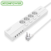 NTONPOWER Network Filter- 4000W Smart Power Strip Multi EU Plug 5 USB Outlet Extension for Sockets, Surge Protector with switch