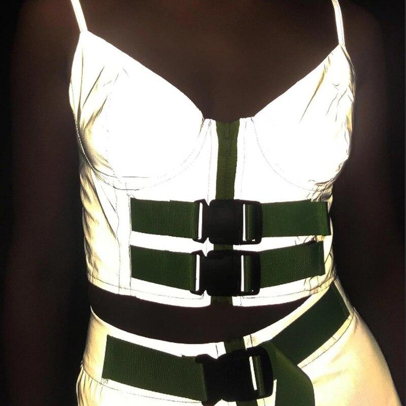 2019 Fashion Reflective Skirt with Belt Women High Waist Pencil Skirt Front Zipper Ladies Night Shiny Glitter Mini Skirts Short in Skirts from Women 39 s Clothing