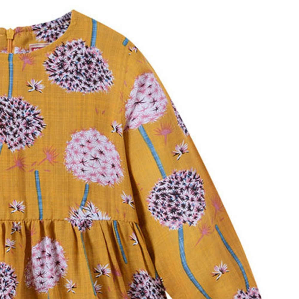 Criança do bebê crianças meninas de manga longa dandelion flores da criança vestido da menina princesa vestidos roupas jan25