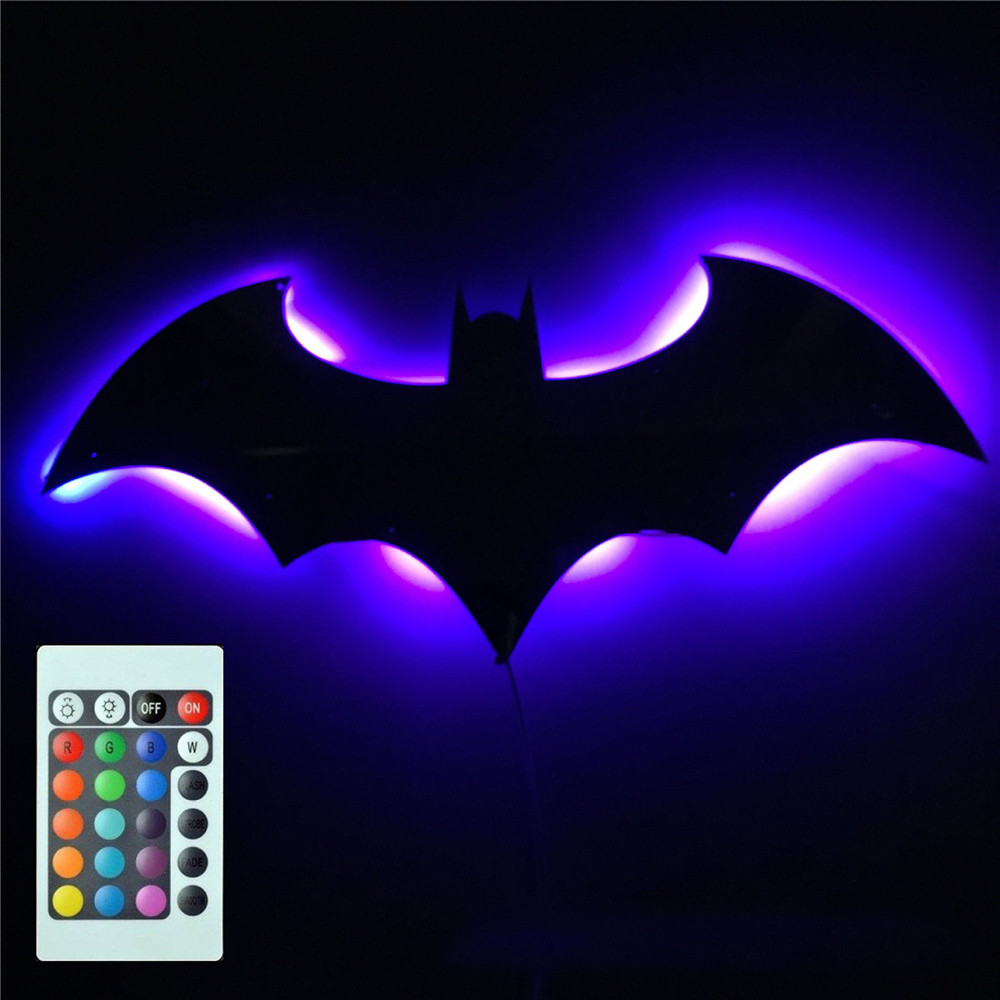 Batman Lamp Mirror Creative Bat Lamp RGB Remote Batman Projector USB Baby Kids Night Light Room Decoration 3D Toys Children Gift