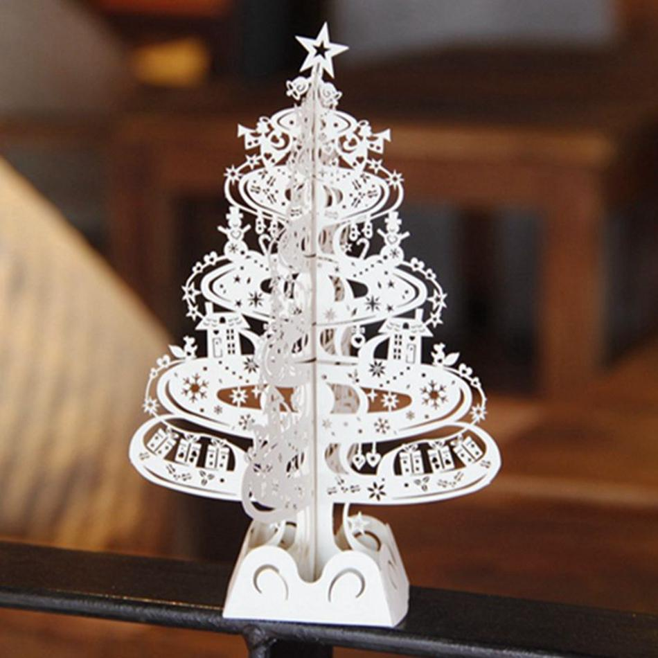 10pcs christmas tree gifts 3d laser cut pop up cards decoration greeting card display merry christmas party supplies in cards invitations from home