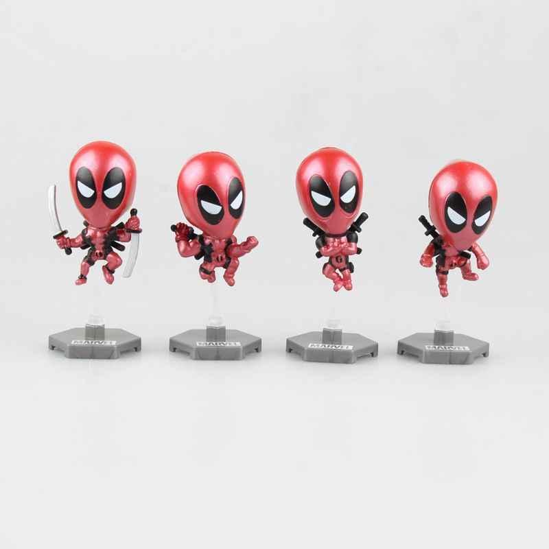 Figuras de Ação maravilha Deadpool Acessórios Do Carro Bobble Head Dolls Collectible 8 pçs/set 6 cm KT2952