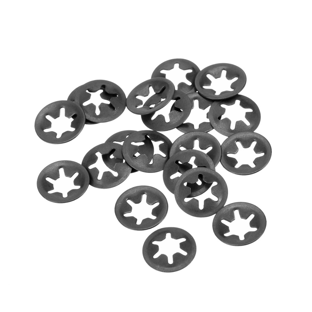 uxcell M5 Starlock Washer 4.5mm I.D 14mm O.D Internal Tooth Lock Washers Push-On Locking Speed Clip 65Mn Black Oxide Finish 60pcs