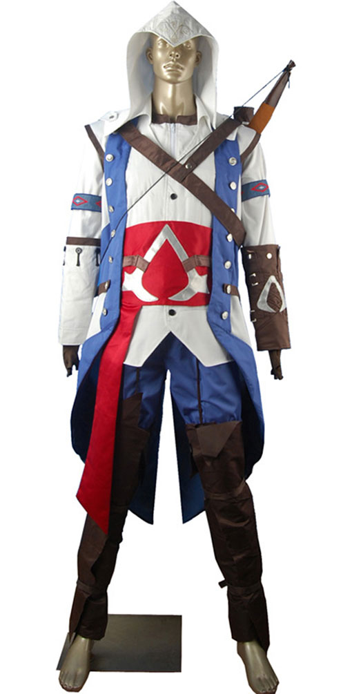 AC 3 III Connor kenway Hoodie Outfit Halloween Carnival Comic-con - Kostiumy - Zdjęcie 2