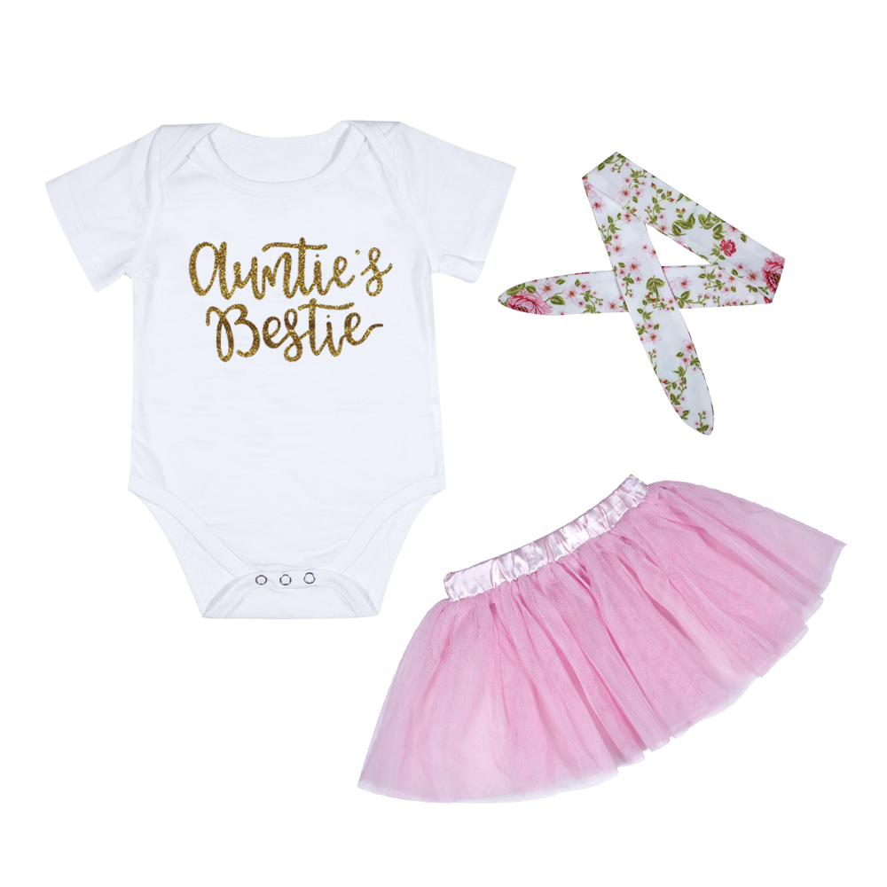 3pcs 2018 Baby Girl ClothesCottons Auntie Letter Bodysuit Infant Toddler Girl Clothing Mesh Skirt Headband Sets Baby Costumes