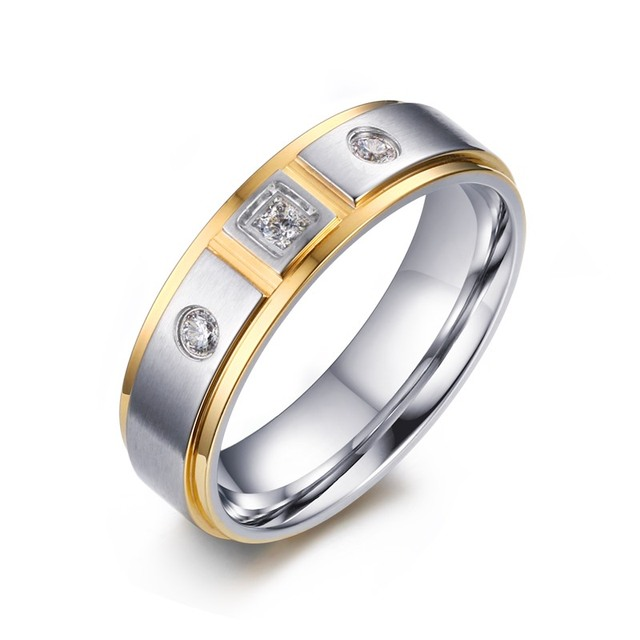 New CZ Stone Wedding Rings for Women Jewelry with Free Chain White
