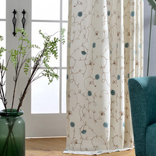 Curtains for Living Room and Bedroom American Countryside Simple Modern Artificial Cotton Thread Embroidery