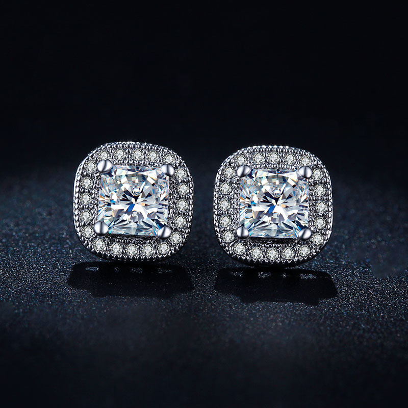 pair stone cage pcs diamond earring sterling earrings earringsdiamond cz earrin silver cubic studs shape loose stud zirconia
