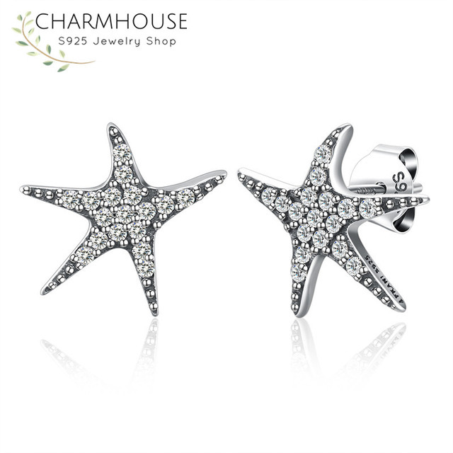 Real Pure Sterling Silver Stud Earrings For Women Starfish Earring With Zirconia Stones Piercing Ear Cuff
