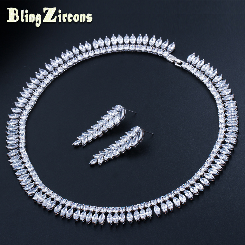 BlingZircons Exquisite Clear Cubic Zirconia Stone Long Leaf Drop Bridal Wedding Earrings Necklace Jewellery Sets for Women JS139 pair of exquisite gemstone embellished leaf shaped long earrings for women