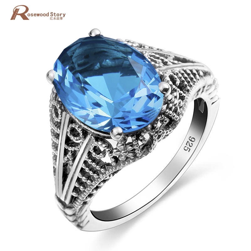 Real Pure 925 Sterling Silver Rings For Women Sky Blue Crystal Ring Vintage Hollow Engraved Flower Fine Jewelry Birthstonw Rings