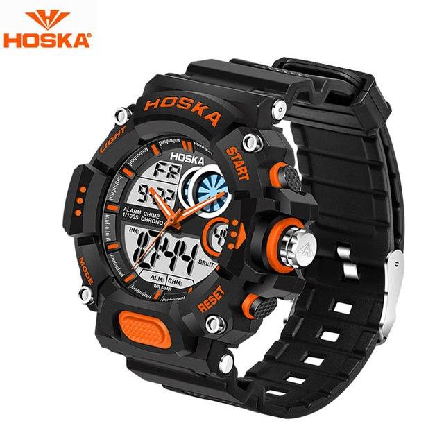HOSKA Brand Children Digital Watch Derby Red Rubber Band LED Back Light Stopwatch 50 Bar Waterproof  Digital Wrist Watches HD031