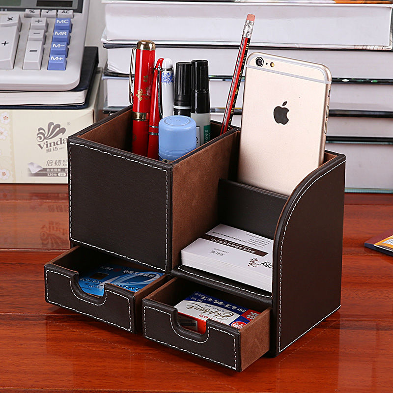 office desk storage. aliexpresscom buy patented leather office desk organizer without drawer remote control holder desktop storage box pen pencil case from reliable b
