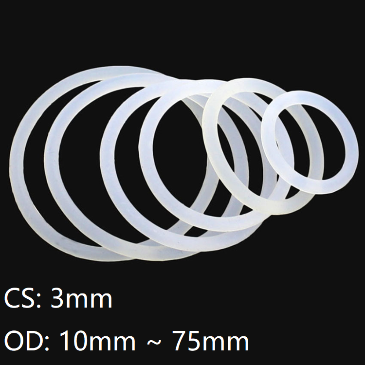 Food Grade Silicone O-ring Seals Metric 2mm Cross Section 1-76mm ID 50//100pcs