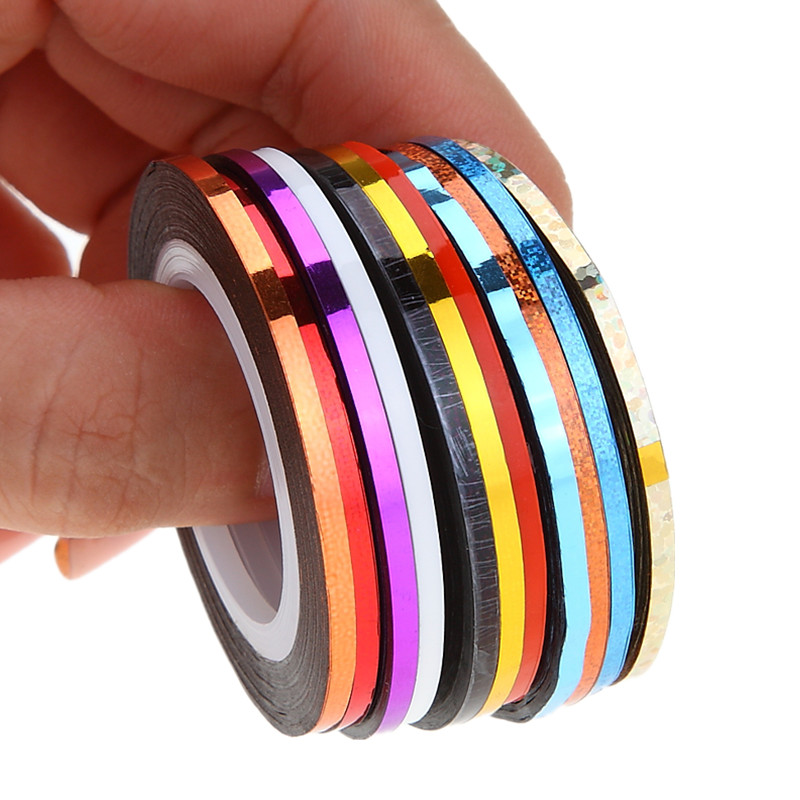 10pcs/pack 2mm Mix Colors Rolls Metallic Adhesive Striping Tape Wide Line DIY Nail Art Tips Strip Sticker Decal Decoration Kit 14 rolls glitter scrub nail art striping tape line sticker tips diy mixed colors self adhesive decal tools manicure 1mm 2mm 3mm