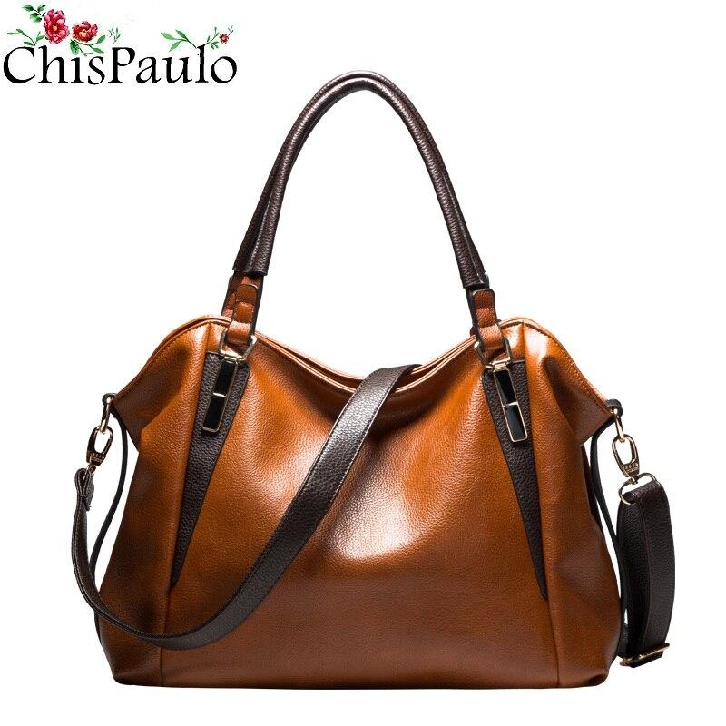 CHISPAULO Famous Brands Designer Handbags High Quality Cowhide Genuine Leather Handbags Casual Women Messenger Shoulder Bags X99