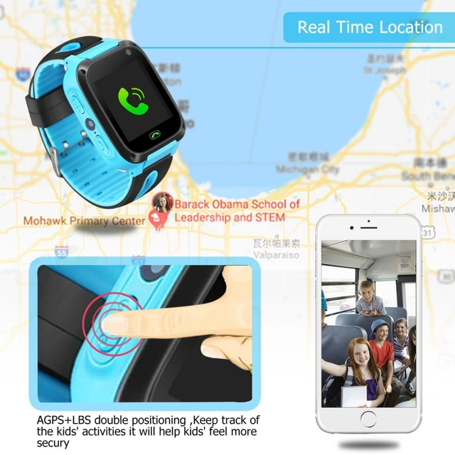 Children GPS Tracking Kids Camera Smart Watch Mirco SIM Calls Anti-Lost LBS SOS Location Alarm for iPhone iOS Android Smartwatch 2