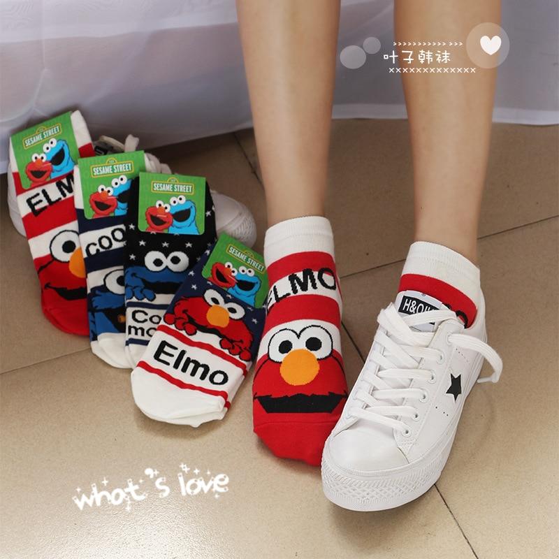 Sesame Street cartoon cosplay   socks   Elmo Cookie Monster fashion novelty funny cute women   sock   autumn comfortable cotton   socks