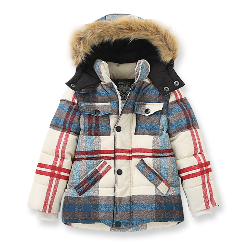 Winter Jacket Boys Thick Coat Faux Fur Hooded Collar Teenage Boys Jackets Warm Kids Outerwear Brand