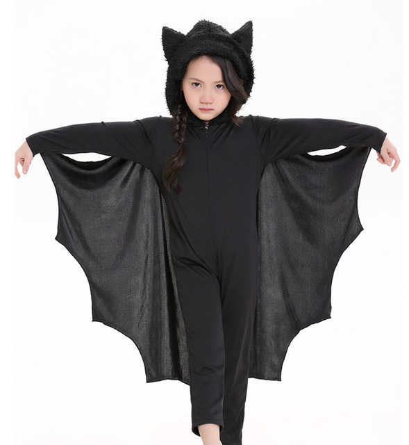 Kids Boys Girls Cosplay Bat Costumes Party Carnival Halloween Costumes for Child Black Bat Onesies Connect Wings Batman Clothes