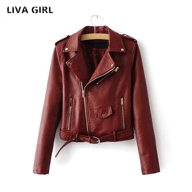 Liva Girl Women PU   Leather   Jacket Autumn Winter Solid Sashes Short Motorcycle Female Coat Jaqueta De Couro Feminino YP70692