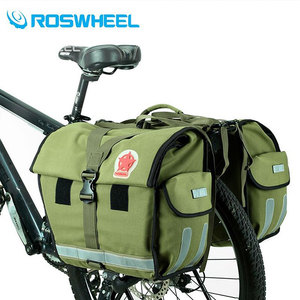 Image 1 - ROSWHEEL Retro Canvas Bicycle Carrier Bag 50L Rear Rack Trunk Bike Luggage Back Seat Pannier Cycling Storage Two Bags 14686