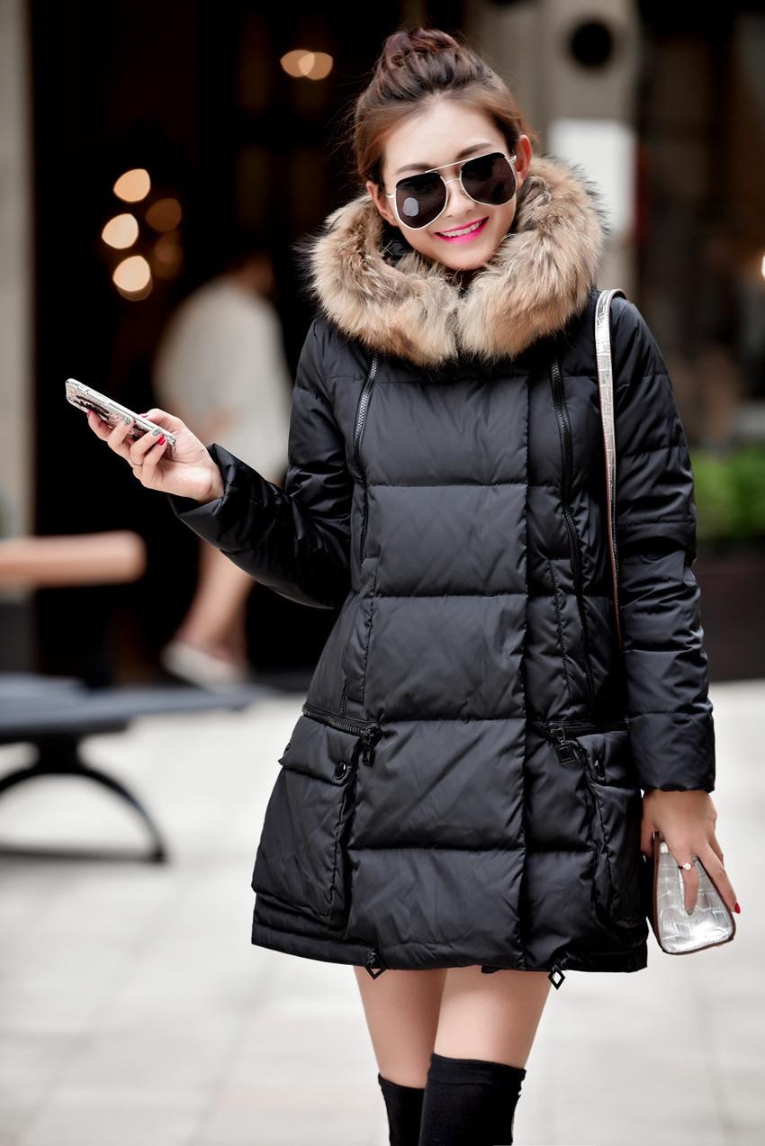 Autumn winter fashion faux fur collar hooded long down jacket women white duck down coat outerwear plus size M - 5XL