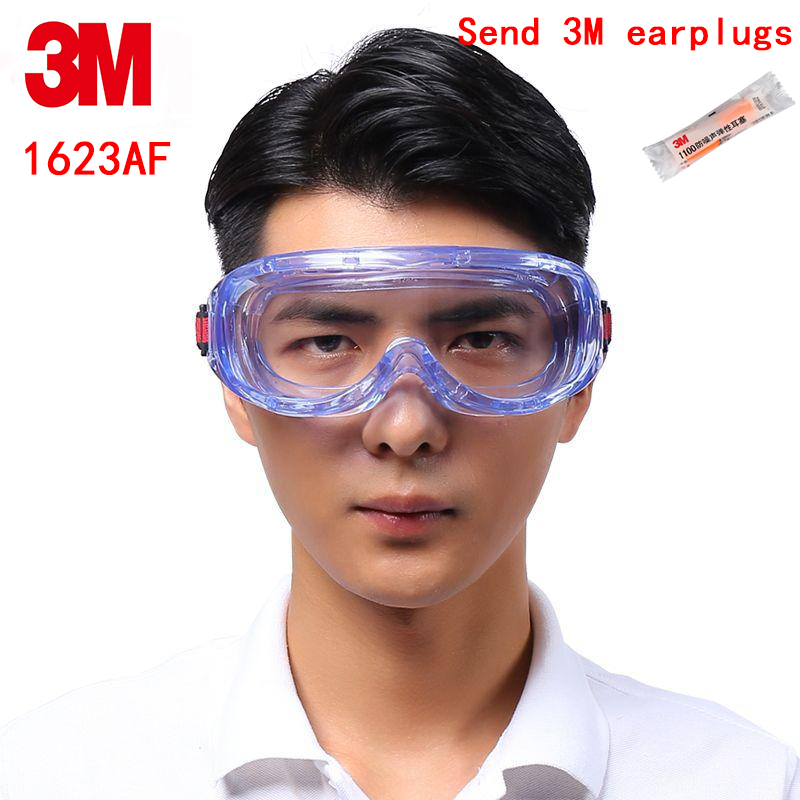 3M 1623AF protection glasses Genuine security 3M safety glasses Closed Anti-fog High definition Chemistry goggles недорго, оригинальная цена