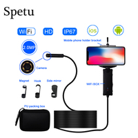 Spetu Hard Cable IOS Android WiFi Handheld Endoscope 8mm Lens 8 LED Waterproof Iphone Wifi Endoscope Camera Snake Inspection Cam