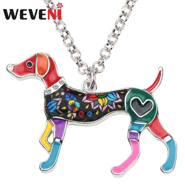WEVENI אמייל סגסוגת אלגנטי ויפט כלב שרשרת תליון צווארון מצחיק בעלי החיים תכשיטי עבור נשים בנות לכל אוהבי אבזר Bijoux