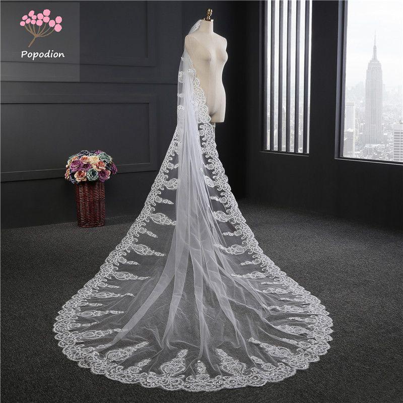 3.5 meter wedding veil long white lace appliques wedding veil bridal veils mesh veils for bride with comb WAS10056