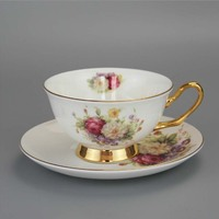 200ml 6 Inch Flower Painting Gilded Ceramic Coffee Cup and Saucer Set Drinking Favor Gift for Wedding DEC343