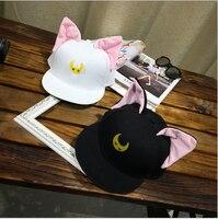 Sailor Moon Korean Cartoon Cat Ear Cat Baseball Cap Hat Flat Hip Hop Cap Baseball Cap