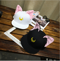 Sailor Moon Korean Cartoon Cat Ear Cat Baseball Cap Hat Flat Hip-hop Cap Baseball Cap 2 Colors Summer Cap