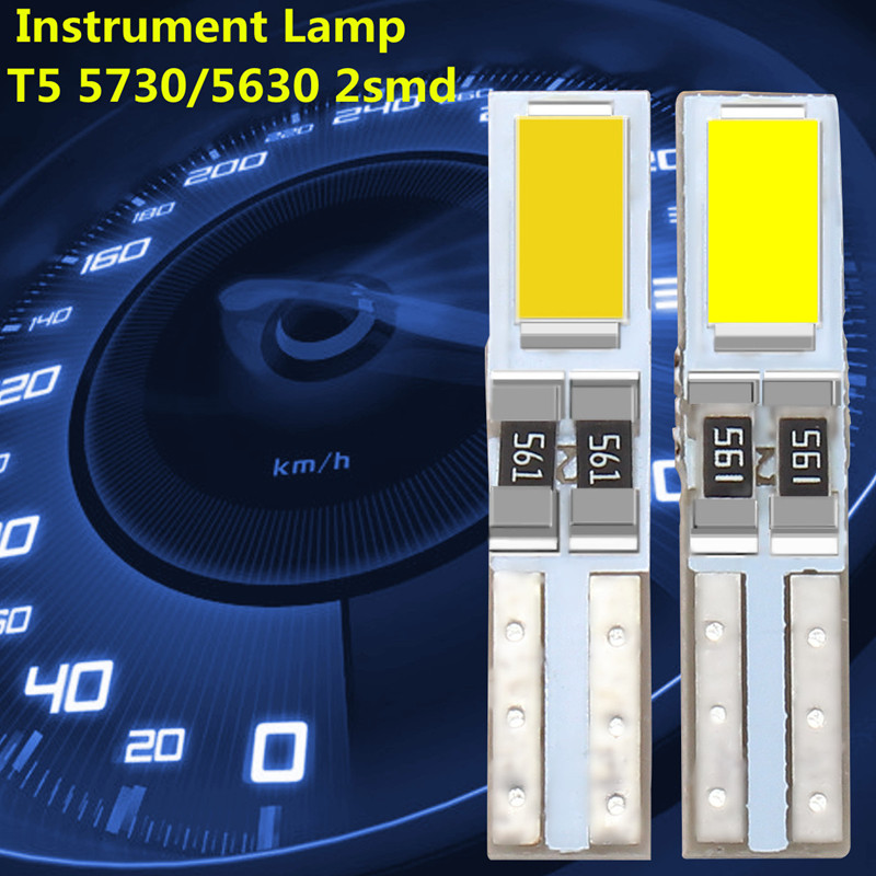 10pcs Car Auto LED T5 W3W 5730 SMD Wedge Side Bulb Instrument Cluster Panel Light Speedometer Gauge Dashboard DC 12V 20pcs car interior t5 led 1 smd dc 12v light ceramic dashboard gauge instrument ceramic car auto side wedge light lamp bulb