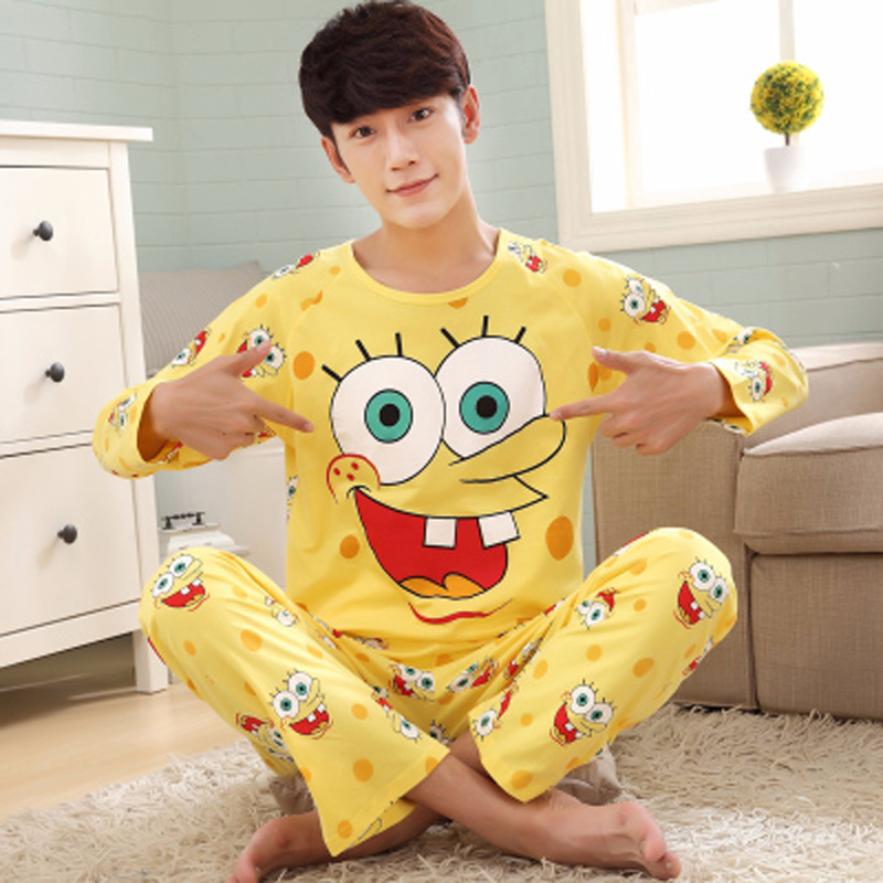 Sleepwear Nightwear Pajamas-Set Lounge Long-Sleeved Cartoon-Print Male Cotton Clothing