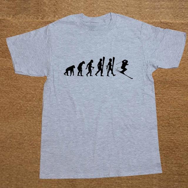 e7fd8431 Evolution of Snow Skis Cross Country Funny T Shirt Men Short Sleeve Printed  Cotton Cartoon T-shirt Tops